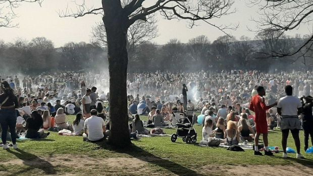 People at Woodhouse Moor in Leeds on Tuesday