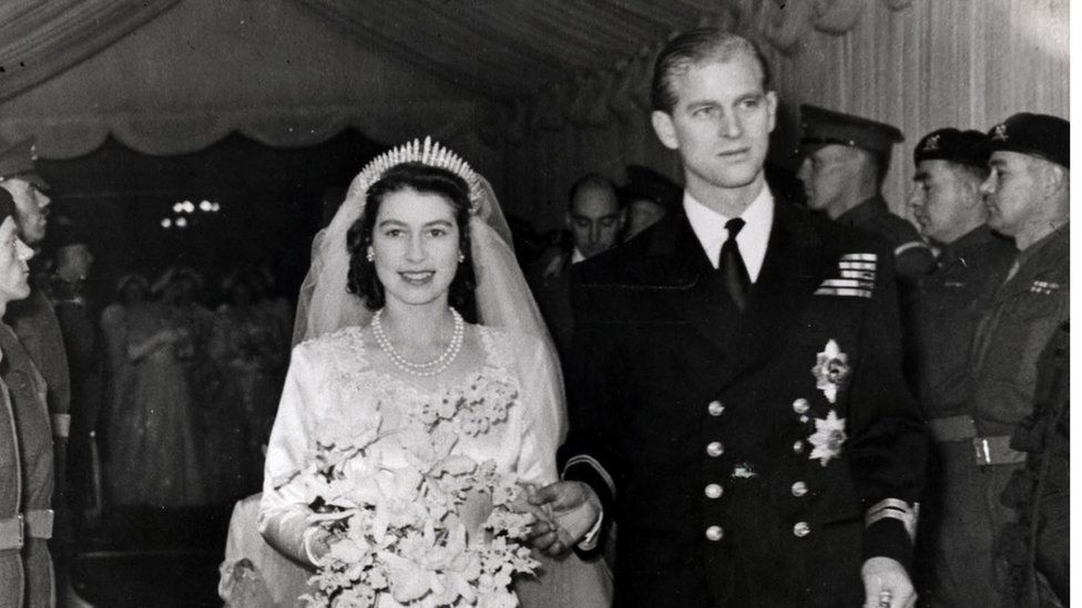 Princess Elizabeth and Prince Philip on their wedding day in 1947