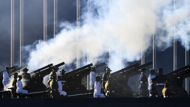 A gun salute in Canberra, Australia