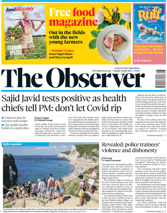 The Observer front page 18 July 2021