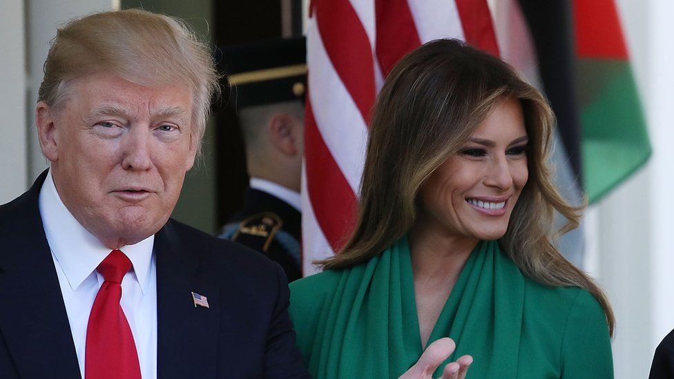 President Donald Trump and his wife first lady Melania Trump at the West Wing of the White House, on April 5, 2017 in Washington, DC.