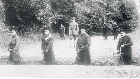 NI police including Ulster Special Constabulary members guarding a border road (circa 1920s)