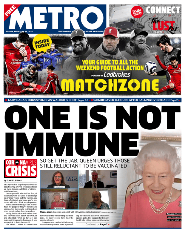 The Metro front page