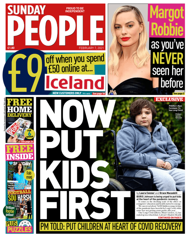 Sunday People front page 07/02/21