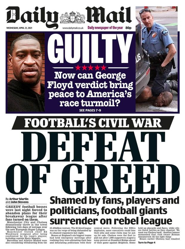 Daily Mail front page 21.04.21