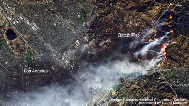 Satellite image of the Creek Fire in California