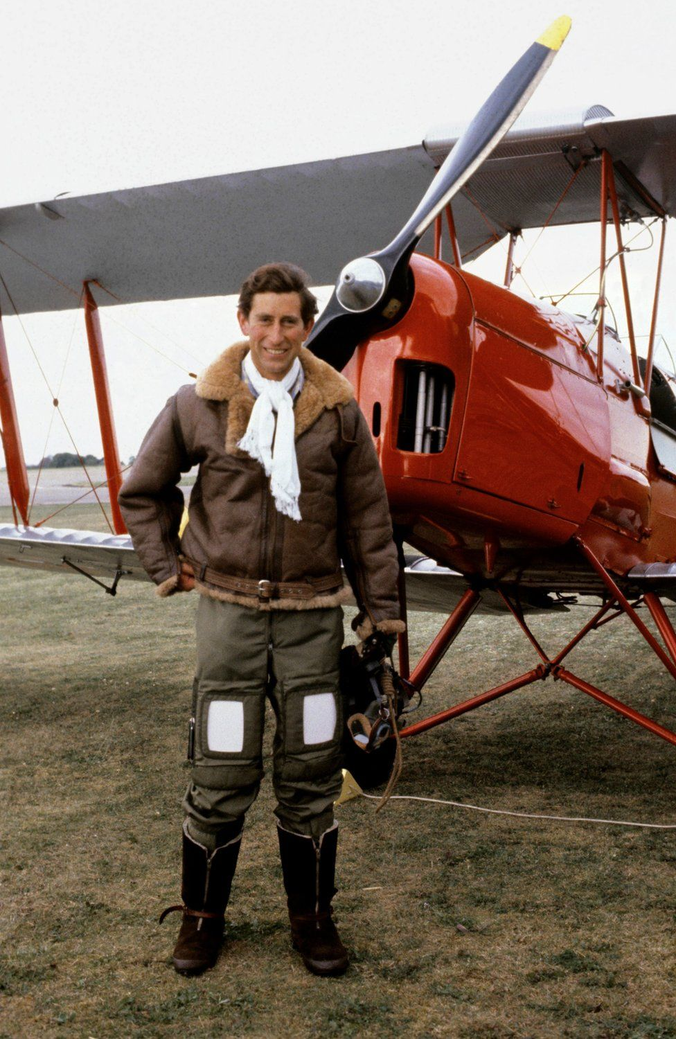 Prince of Wales in a Biggles-style flying outfit at RAF Benson