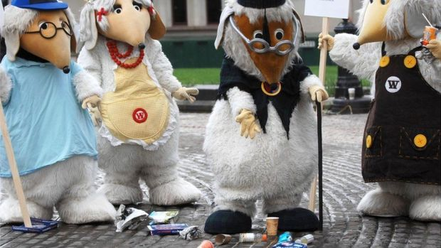 The Wombles tidy up Leicester Square, London, during the launch of a campaign against litter in the countryside.