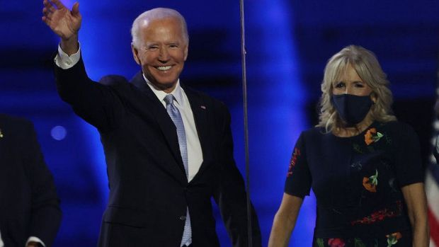 President-elect Joe Biden and Jill Biden at the Chase Center, November 7, 2020 in Wilmington, Delaware