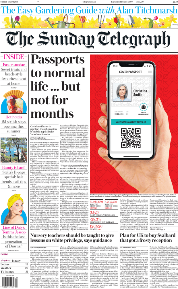 Sunday Telegraph front page 4 April 2021
