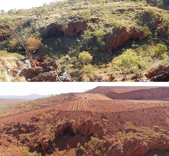 Juukan Gorge cave site before and after mining works