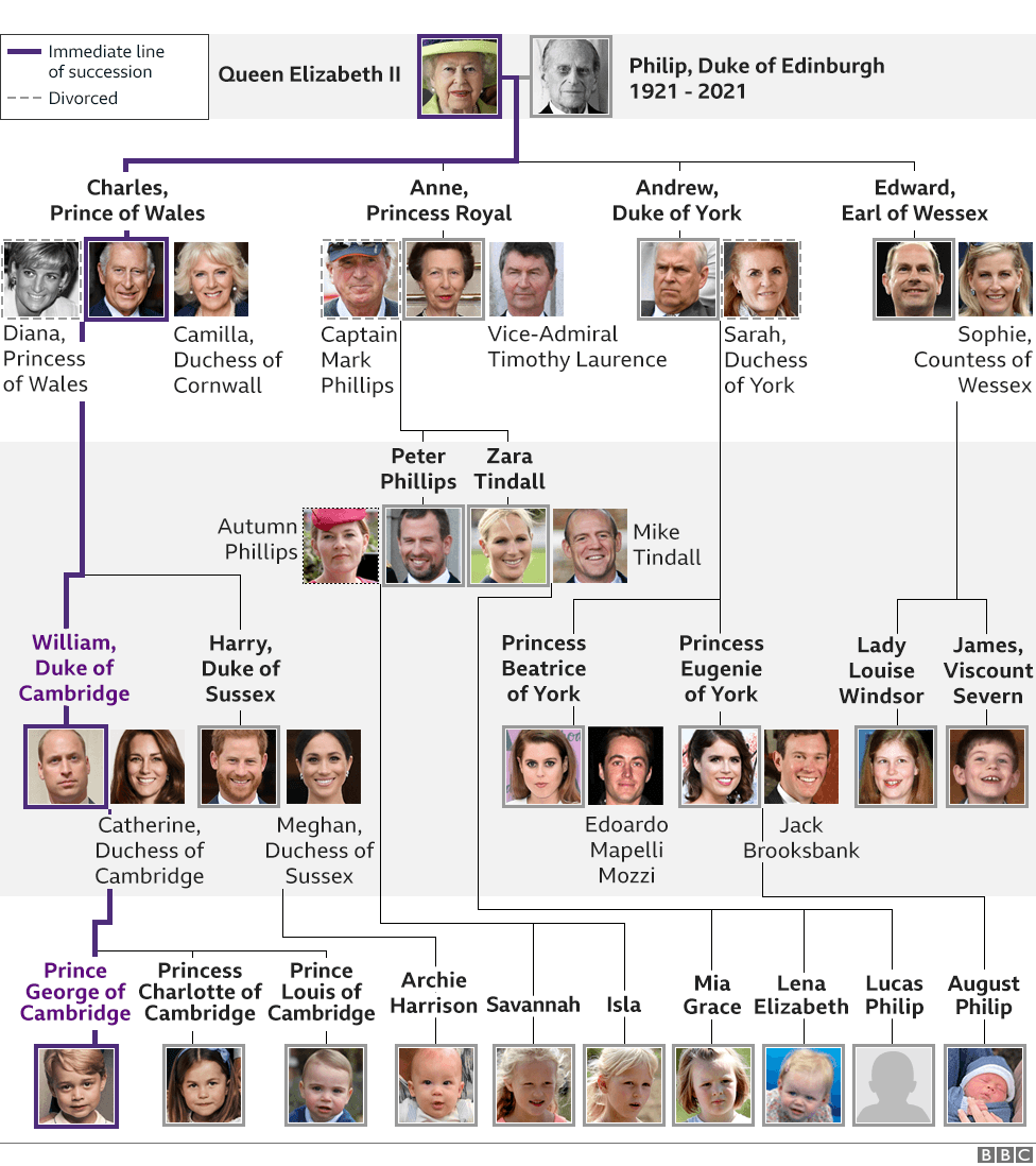 Graphic showing Royal Family tree. Updated 9 April 2021