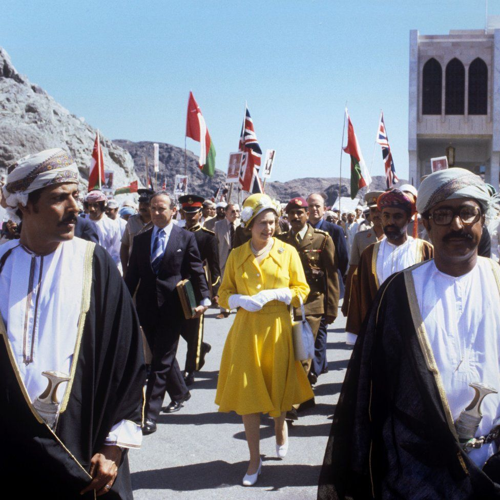 Queen Elizabeth II during a walkabout in Muscat while visiting Oman