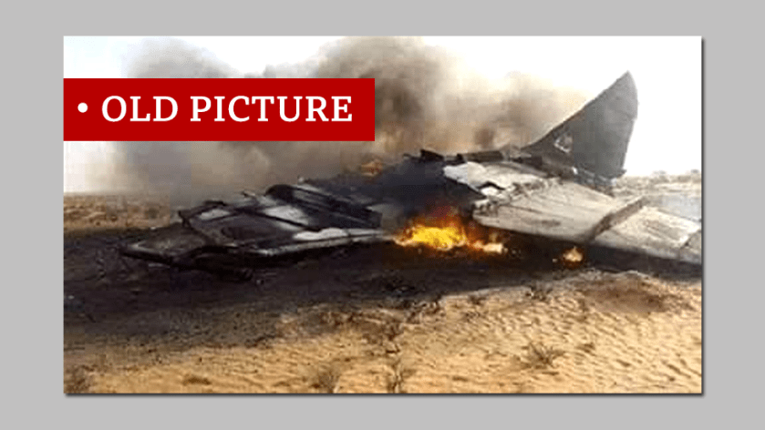 Screen grab of downed fighter plane labelled old picture