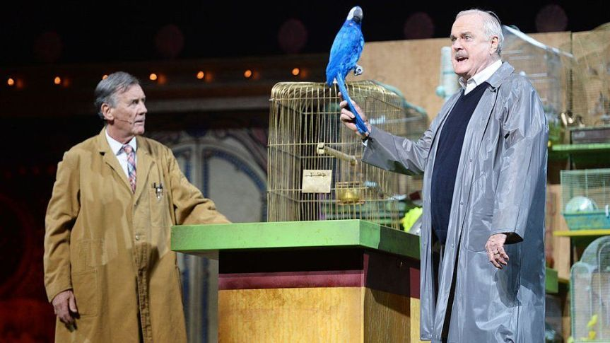Michael Palin and John Cleese performing the Dead Parrot Sketch in 2014