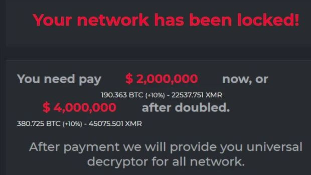 A DarkSide ransomware notice