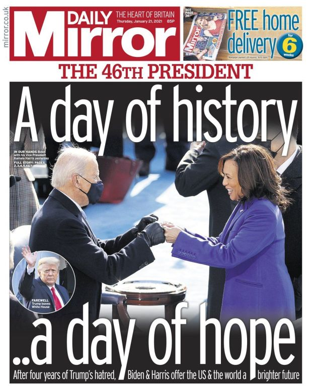 Daily Mirror front page - 21/01/21