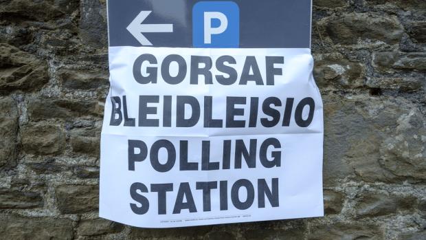 Welsh polling station sign