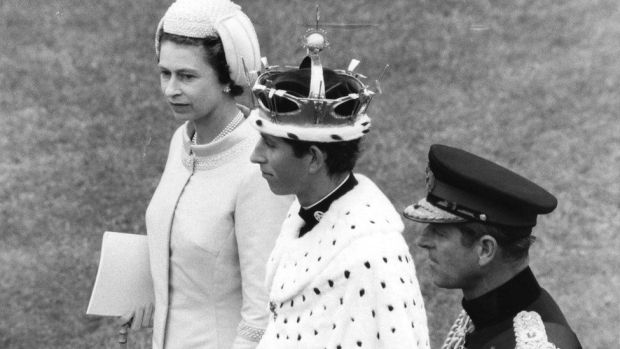 The duke and the Queen with Prince Charles at his investiture in Caernarfon Castle July 1969