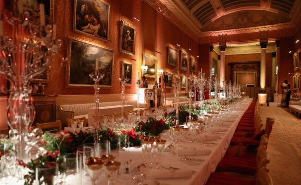 The table ahead of a Prince's Trust Dinner at Buckingham Palace, in December 2017