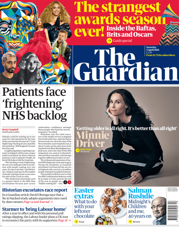 The Guardian front page 3 April 2021