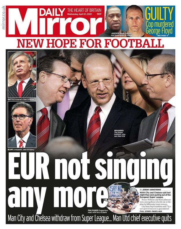 Daily Mirror front page 21.04.21