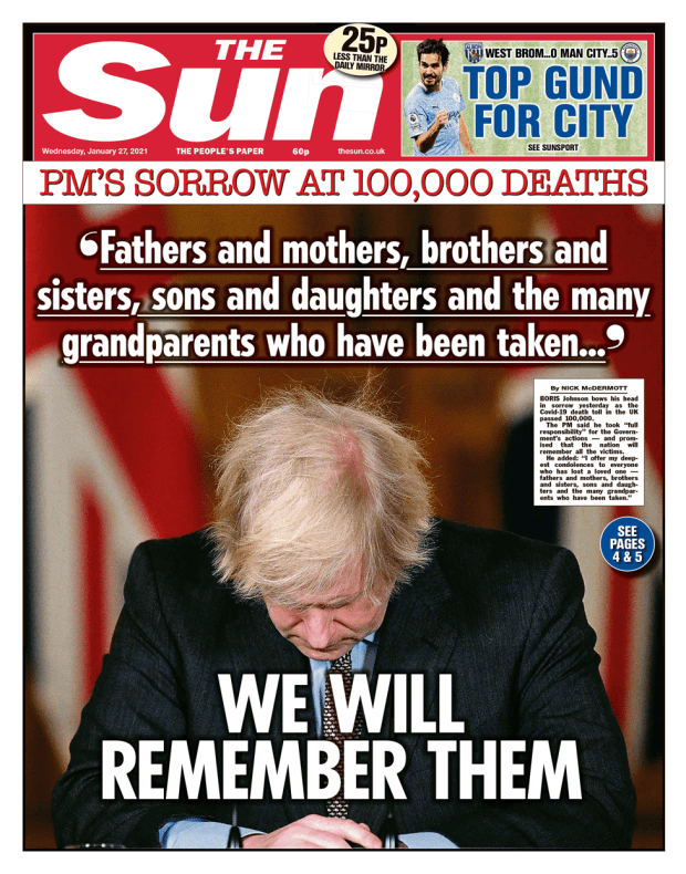 The Sun front page 27/01/21
