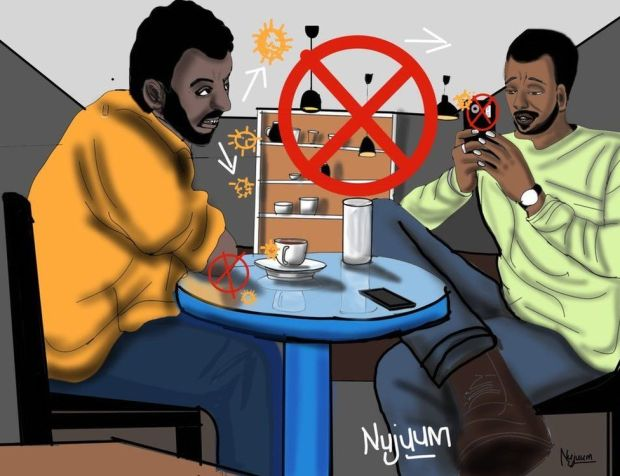 Two men sitting in a coffee shop spreading virus particles to each other with the artist showing where danger points are such as exposed elbows on tables and a lack of masks