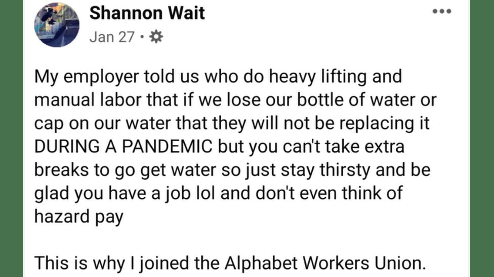 Shannon Wait's Facebook post