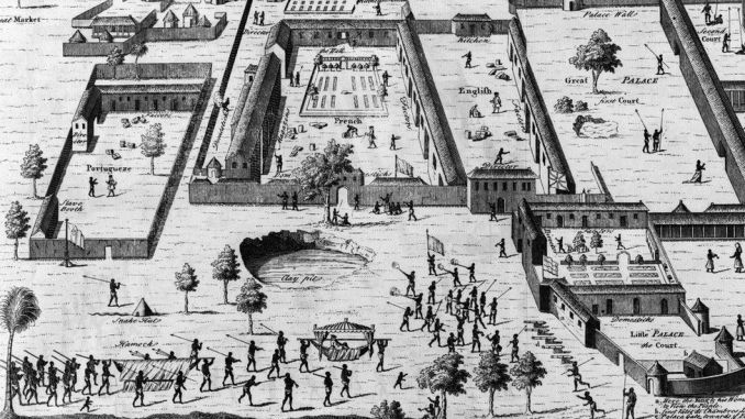Slave factories, or compounds, maintained by traders from four European nations on the Gulf of Guinea in what is now Nigeria. 1746 engraving by Nathaniel par
