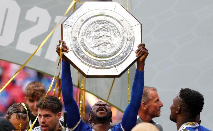 Nigerian striker Kelechi Iheanacho holding the Community Shield at Wembly, the UK - Saturday 7 August 2021