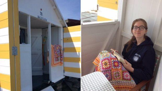 Emilia in beach hut