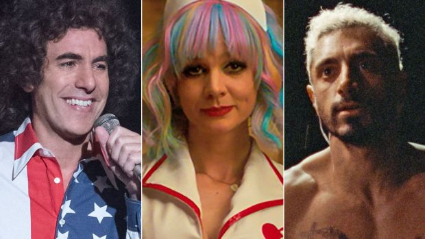 Left-right: Sacha Baron Cohen in The Trial of the Chicago 7, Carey Mulligan in Promising Young Woman and Riz Ahmed in Sound of Metal