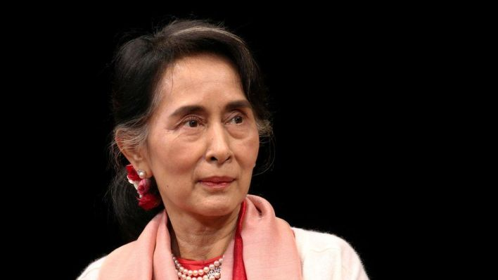 """Myanmar""""s Minister of Foreign Affairs (and State Counsellor) Aung San Suu Kyi speaking during an event at the Asia Society Policy Institute in New York City, U.S. September 21, 2016."""