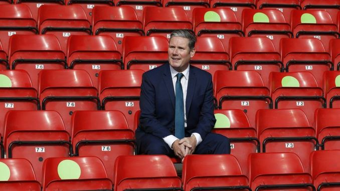 Sir Keir Starmer on a visit to Walsall football club