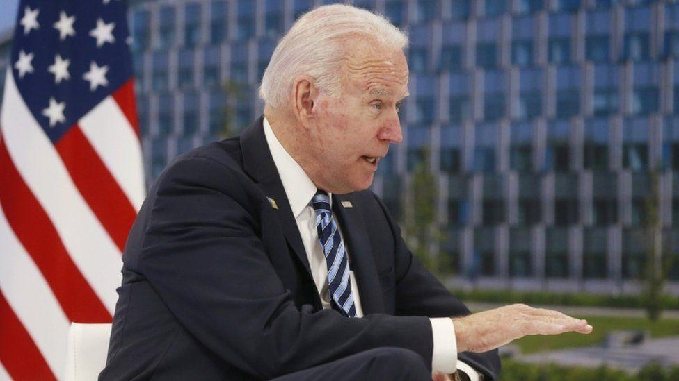 Joe Biden speaks as he attends a meeting with Nato Secretary General Jens Stoltenberg