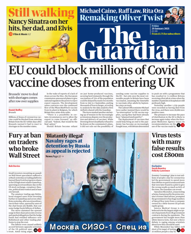 The Guardian front page 29//01/21