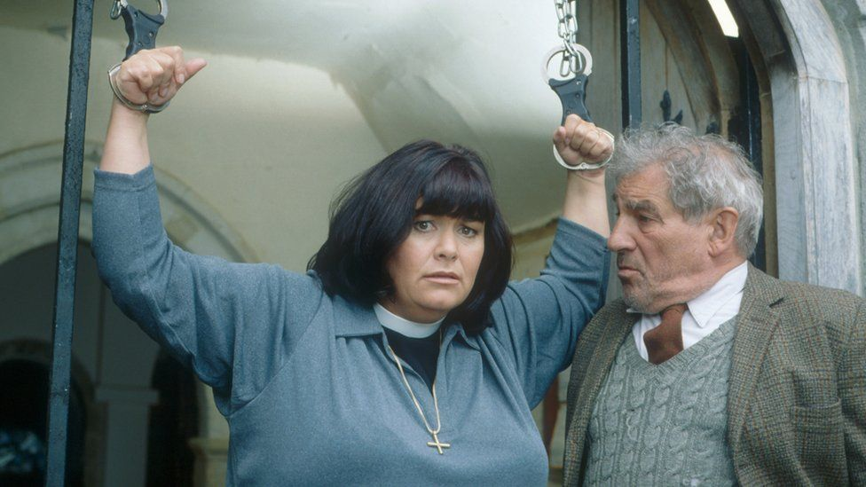 Dawn French and Trevor Peacock
