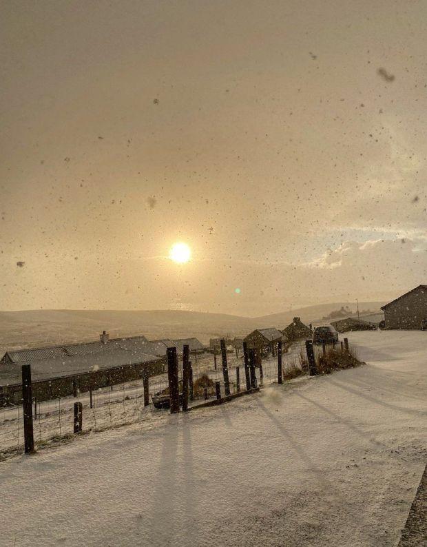 Snowing in Shetland