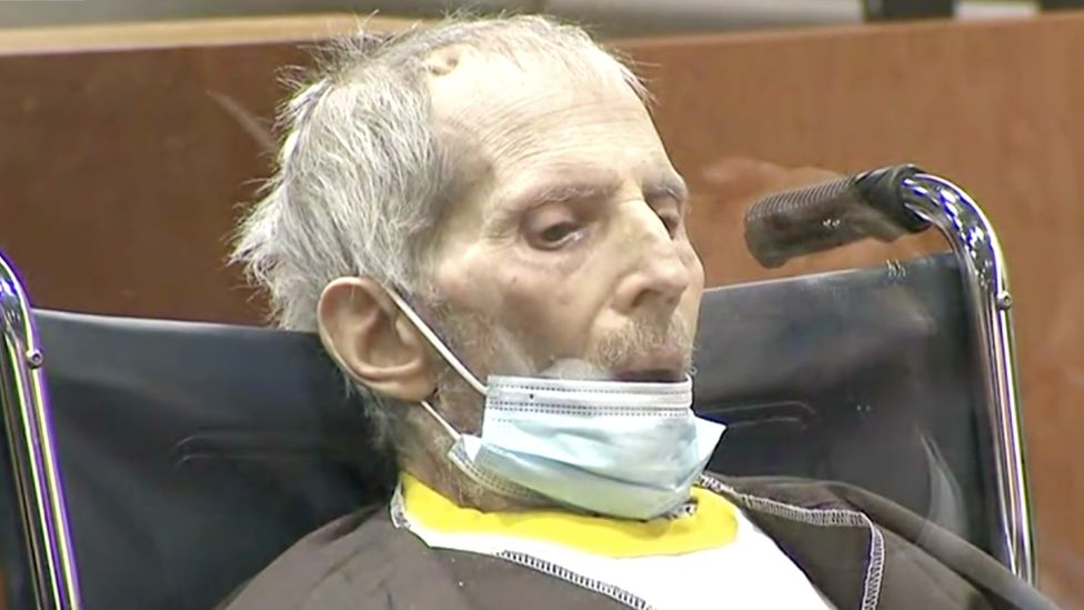 Robert Durst looks down during sentencing