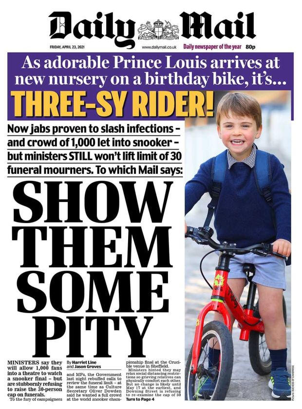 Daily Mail front page 23.04.21