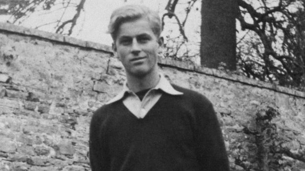 A black and white picture of Prince Philip at Gordonstoun aged 16