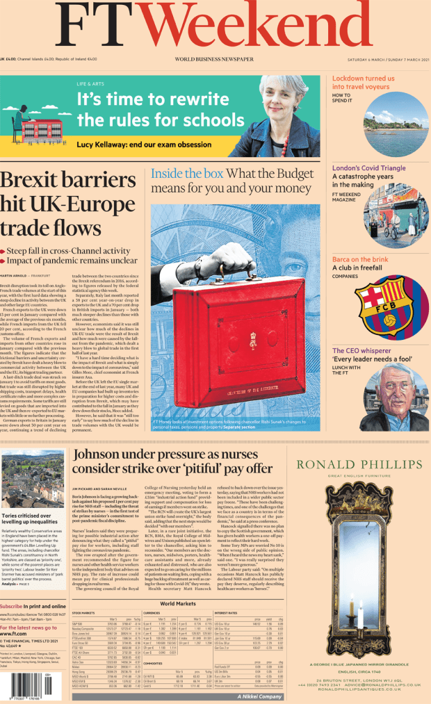 The FT Weekend front page 6 March 2021