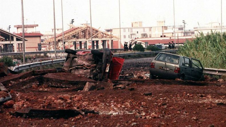 Picture dated 23 May 1992, showing the site where Italian anti-Mafia judge Giovanni Falcone, his wife Francesca Morvillo and three bodyguards were killed in a bomb explosion on Palermo's motorway near Capaci, Sicily, Italy.