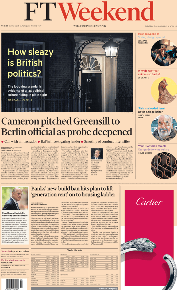 FT Weekend front page 17 April 2021