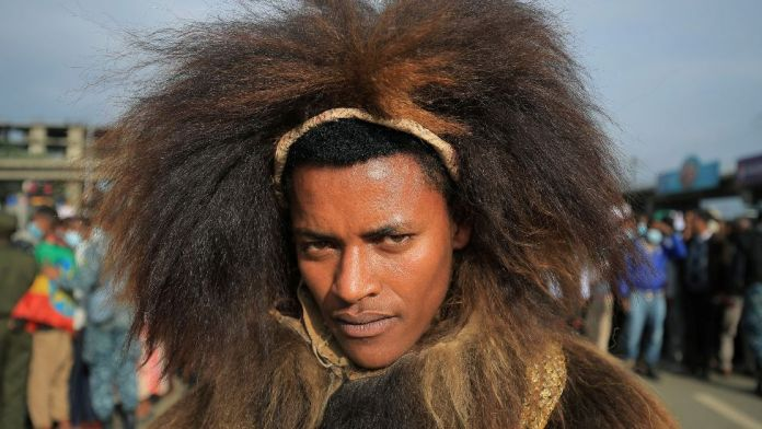 A man dressed in traditional Oromo costume attends a rally in Addis Ababa, Ethiopia - Sunday 8 August 2021