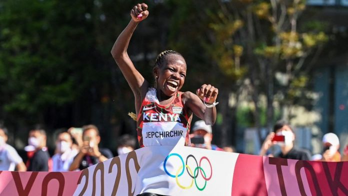 Kenya's Peres Jepchirchir crossing the finish line at the women's Olympic marathon in Sapporo, Japan - Saturday 7 August 2021
