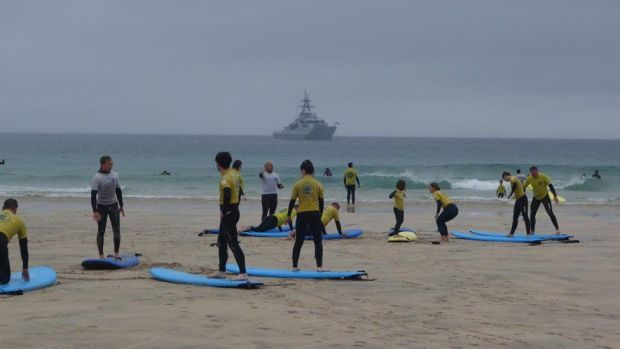 Warship and surf lesson