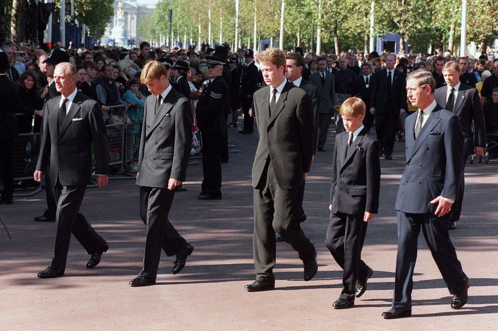 The Duke of Edinburgh, Prince William, Earl Spencer, Prince Harry and the Prince of Wales during the funeral procession to Westminster Abbey