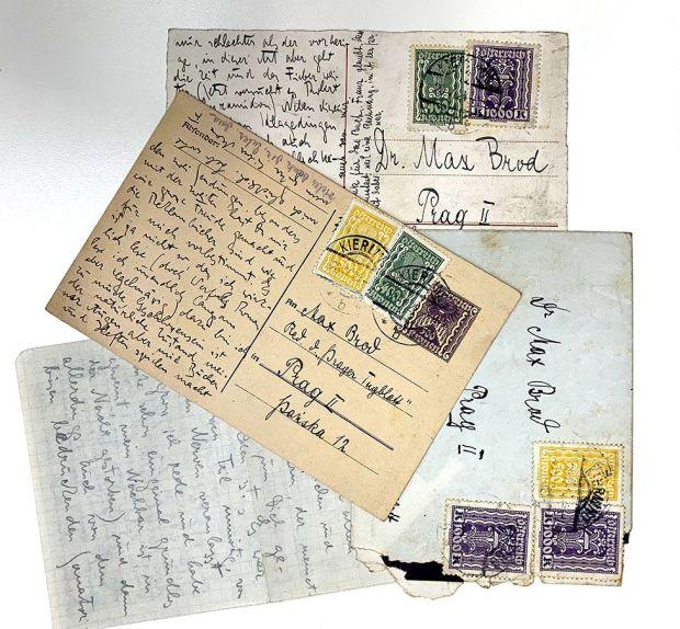 A collection of postcards written by Franz Kafka to Max Brod